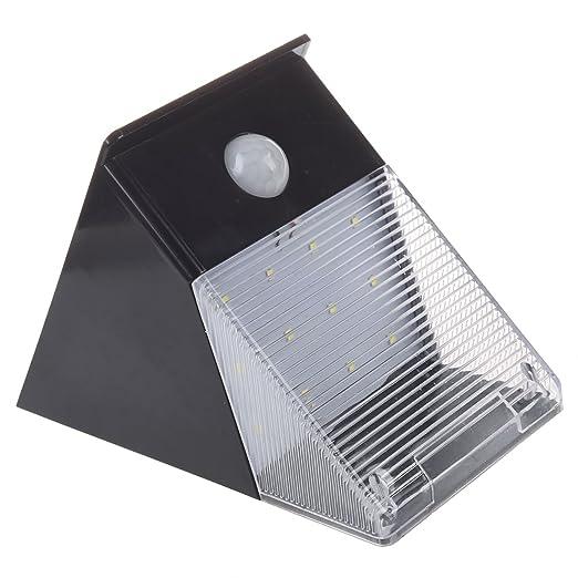 SODIAL(R) Luz solar de la lampara de pared del jardin al aire libre del LED (12 LED Luz solar del sensor de movimiento): Amazon.es: Hogar