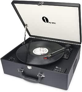 1 BY ONE Maletín tocadiscos de 3 velocidades con altavoces incorporados, grabador de vinilo a MP3, USB reproductor MP3, Wireless, entrada AUX y RCA, negro