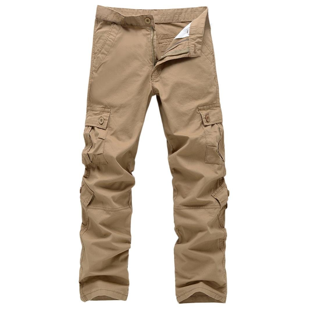 Realdo Clearance Fashion Army Trousers Multi-Pocket Combat Zipper Cargo Waist Work Casual Pants(40,Khika)