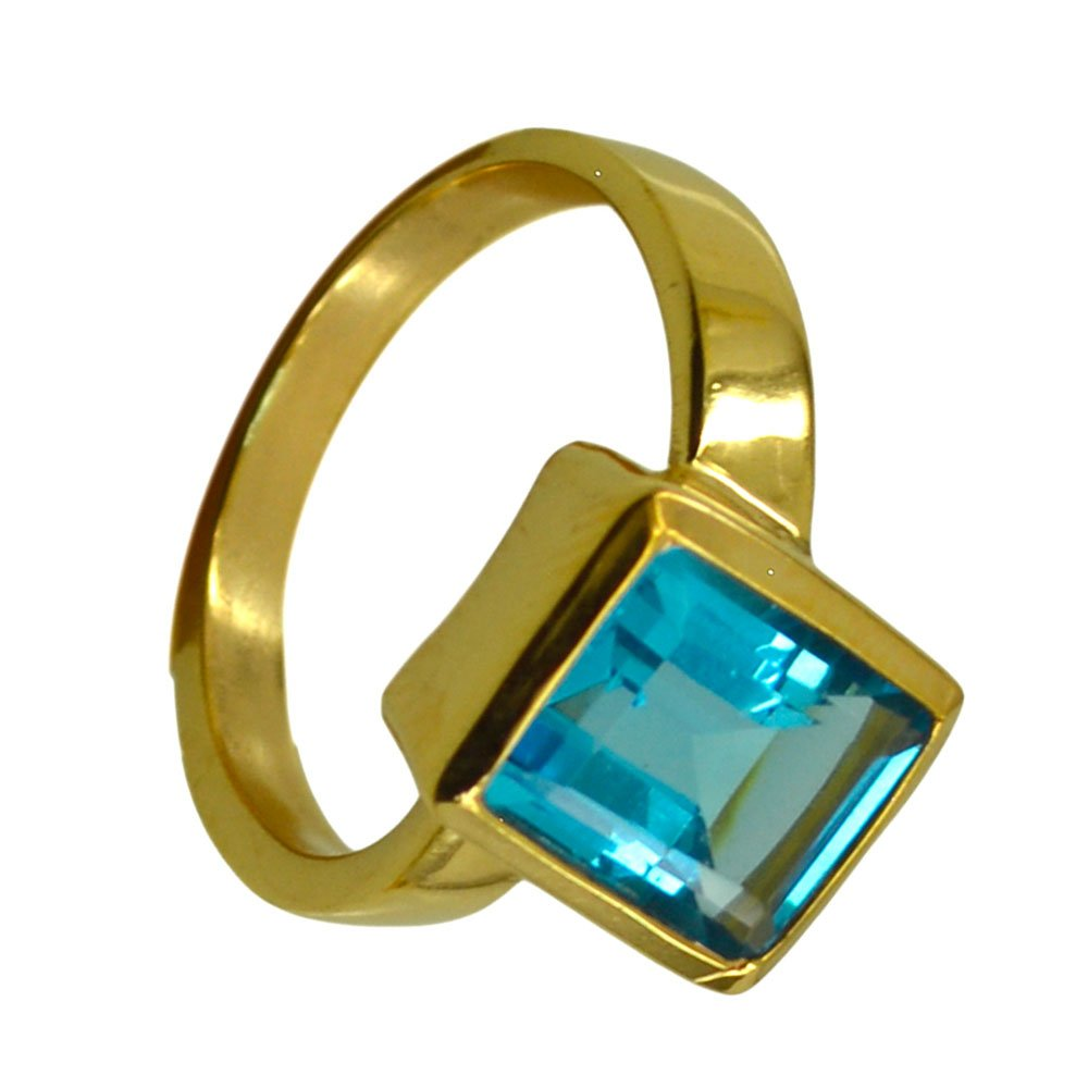 Jewelryonclick Blue Topaz CZ Gold Plated Rings Women Emerald Cut Bezel Style Available Size 5,6,7,8,9,10