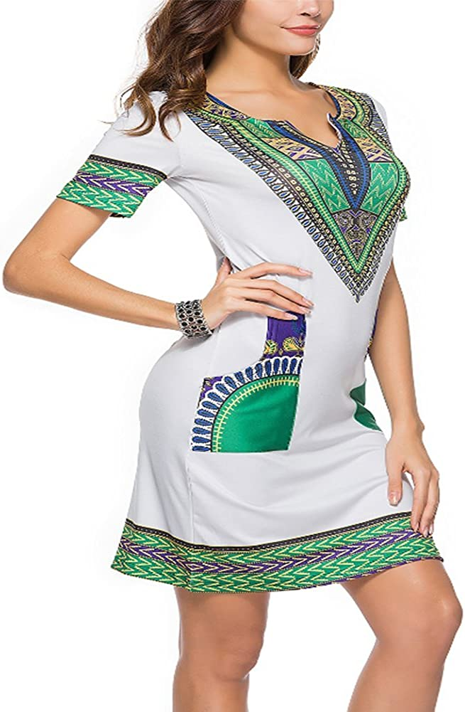 Women Bohemian Dress Ethnic Vintage Style V Neck Printed Casual Traditional African Thailand Style Short Sleeve T-Shirt Dress