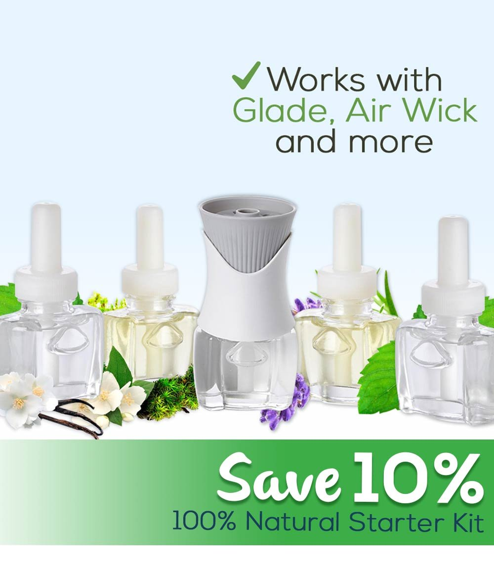 Scent Fill 100% Natural Plug in Starter Kit with 4 Refills and Air Wick Oil Warmer