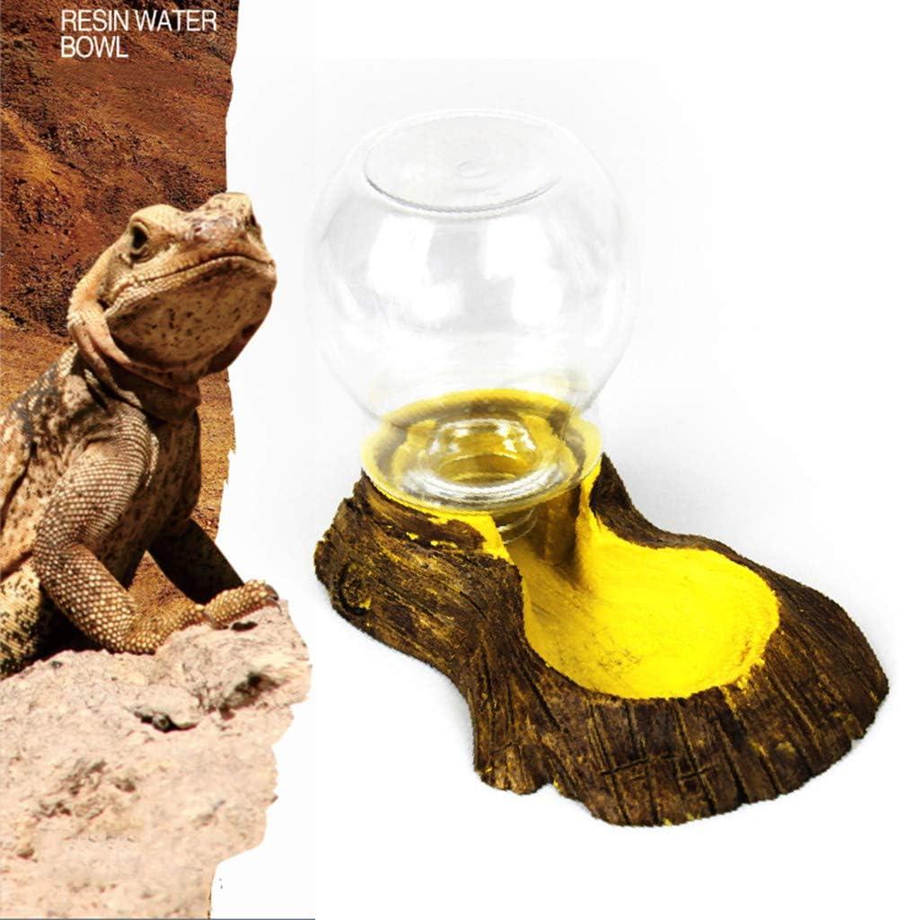 Ocobudbxw Pet Reptile Bebedero autom/ático Lavabo Simulaci/ón Corteza Tortuga Lagarto Cuenco