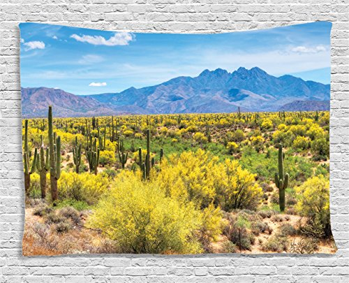 Ambesonne Saguaro Cactus Decor Collection, Blooming Palo Verdes And Saguaros At Four Peaks Foot Hills Near Phoenix, Arizona. , Bedroom Living Room Dorm Wall Hanging Tapestry, 80W X 60L Inch
