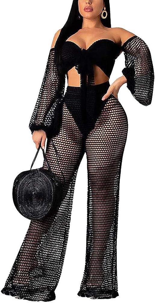 Women 2 Piece Outfits Clubwear Summer Bikini Cover Up Crop Top Flare Pants Set