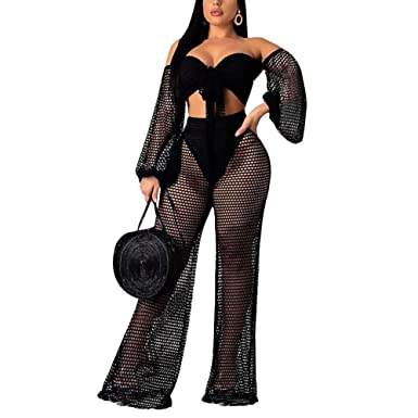 2b2db153c9c4 Women 2 Piece Outfits Clubwear Summer Bikini Cover Up Crop Top Flare Pants  Set at Amazon Women's Clothing store: