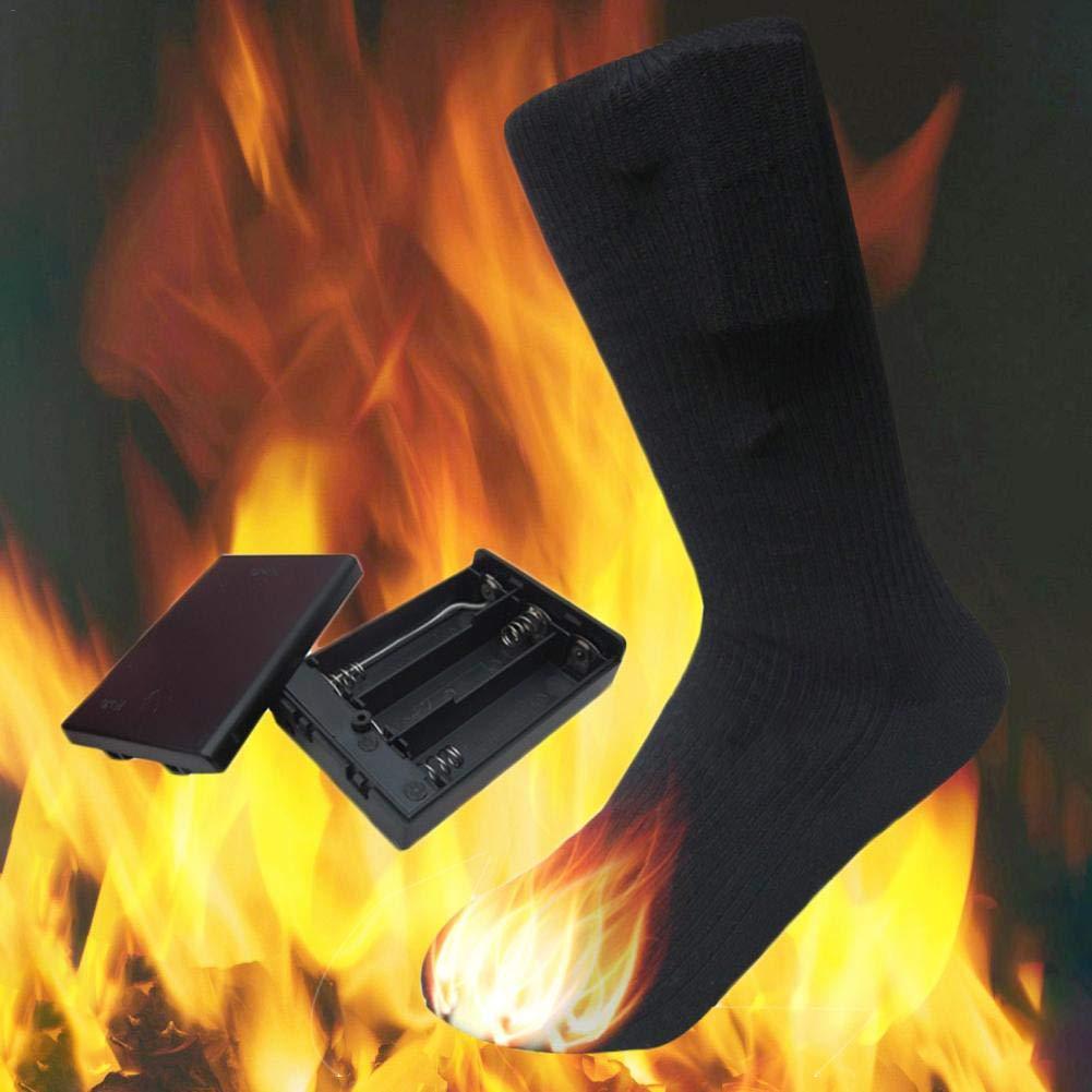 Chaussettes chauffantes unisexes /à double couche Chaussettes chauffantes en coton de 4,5 V Chauffage /électrique Chaussettes chaudes pour la chasse au ski en hiver Camping Randonn/ée Randonn/ée