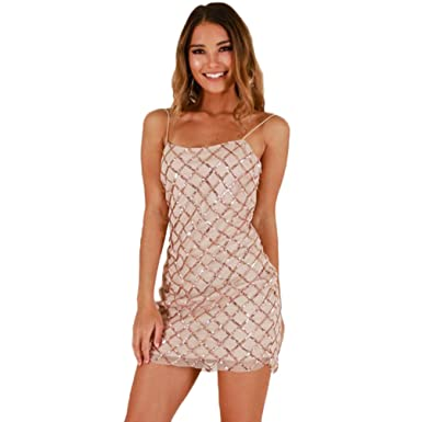 ff2db8283fb7 LINNUO Womens Sequin Body Con Pencil Shimmer Glam Party Dress Mesh Backless Glitter  Mini Club Cocktail Dresses: Amazon.co.uk: Clothing