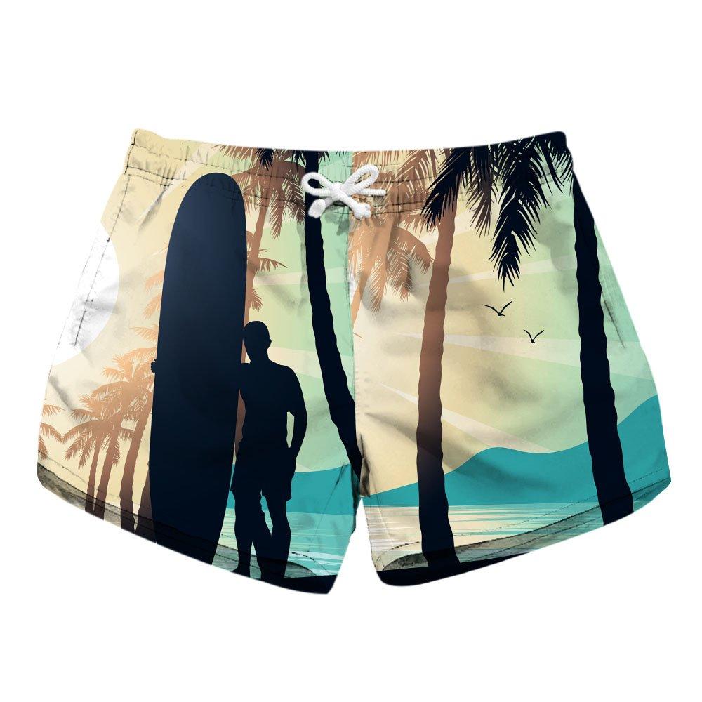 Honeystore Women's Casual Swim Trunks Quick Dry Print Boardshort Beach Shorts H1804B6