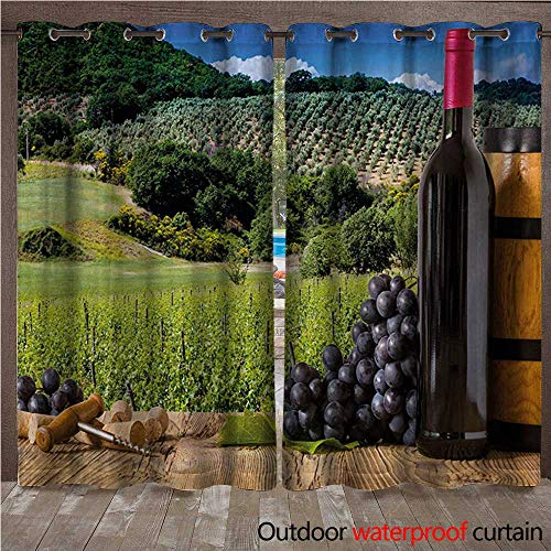 WilliamsDecor Wine Outdoor Balcony Privacy Curtain Idyllic Tuscany Country Landscape Agriculture Harvest Grape Plantation W72 x L84(183cm x 214cm)