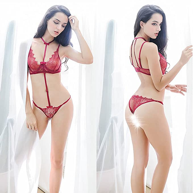 Amazon.com : LQQGXL Sexy lingerie transparent underwear bra three points sexy thin lace steel temptation Sexy underwear (Color : Red) : Sports & Outdoors