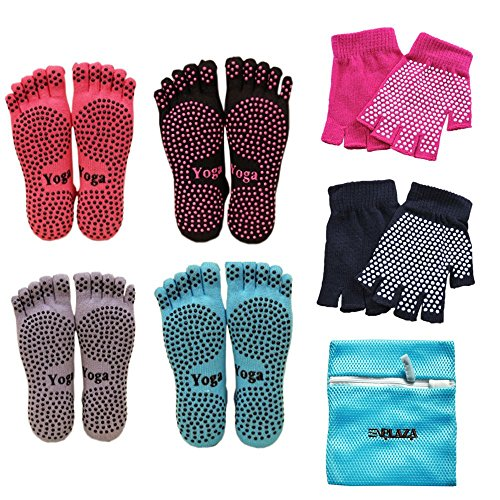 EPLAZA Women's Yoga Pilates Grip Socks and Gloves Non Slip + 1 Wash bag (a)