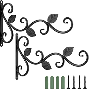 Lewondr Wall Hanging Plant Bracket, [2 Pack] 12 Inch Retro Outdoor Indoor Garden Hook Décor Alloy Decorative Plant Brackets with Screws for Bird Feeder Wind Chime Lantern, Leaf - Spray Paint Black