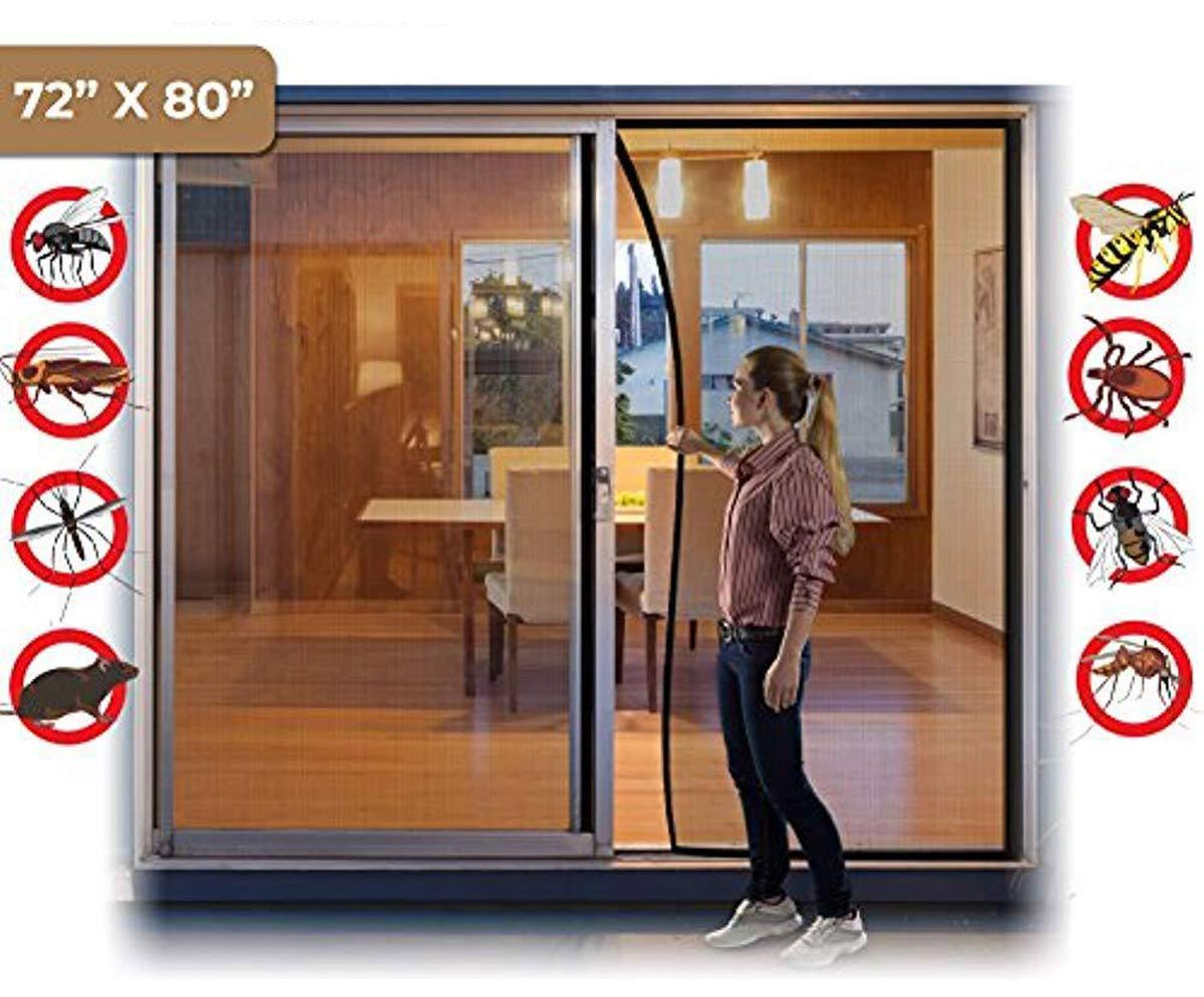 Cafolo ~ Large Hands Free Magnetic Screen Anti Mosquito Bug Door with Heavy Duty Magnets and Mesh Curtain (72x80 inches)