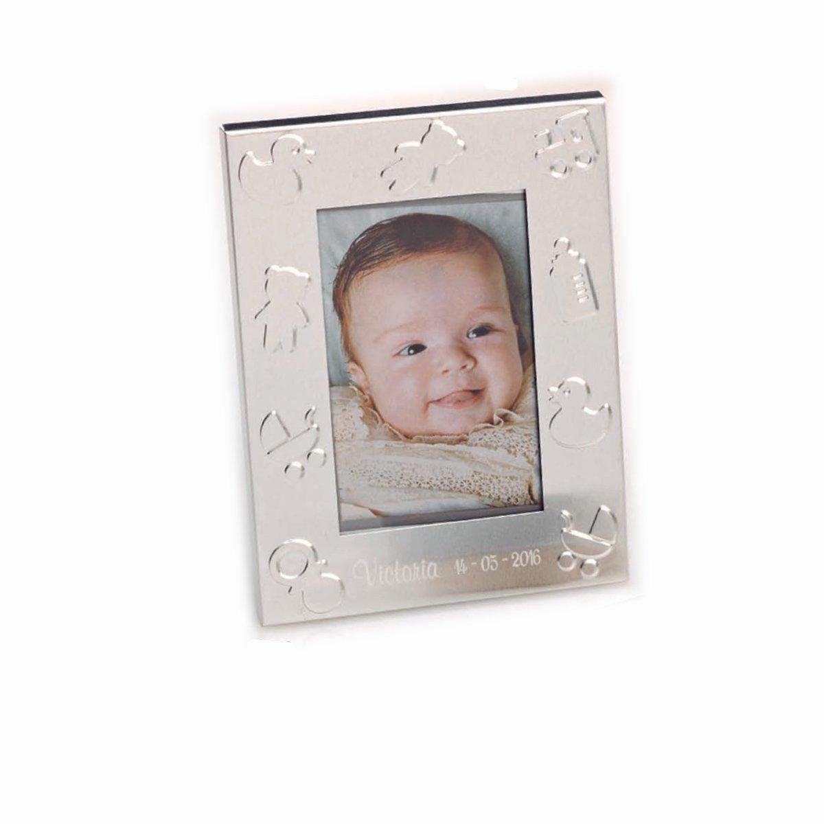 Grabado con nombre y fecha Portafoto metal con simbolos de bebe Pack de 15 unidades