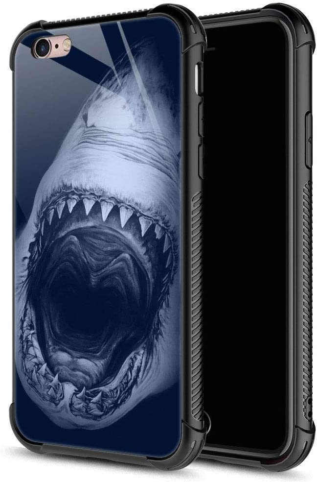 iPhone 6S Plus Case,Shark iPhone 6 Plus Cases for Girls Boys,9H Tempered Glass Graphic Design Shockproof Anti-Scratch Tempered Glass Case for Apple iPhone 6/6S Plus
