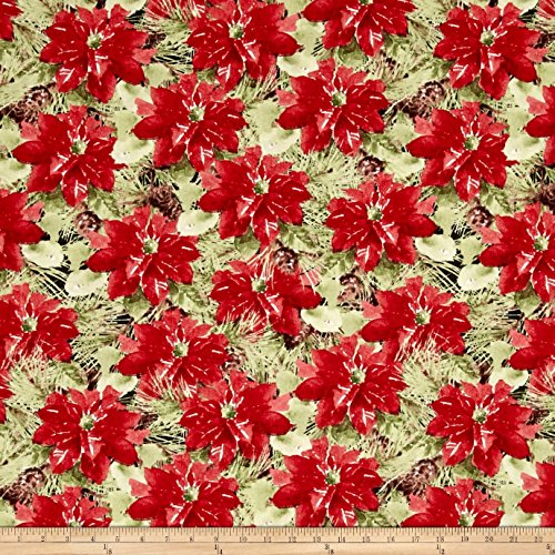 Woodland Holiday Packed Pointsettias Fabric