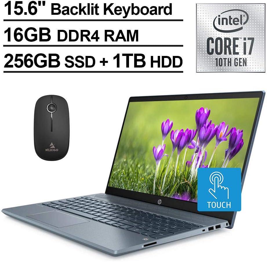 2020 HP Pavilion 15 FHD 1080P Touchscreen Laptop, Intel Core i7-1065G7 up to 3.9 GHz, MX250 4GB, 16GB RAM, 256GB SSD (Boot) + 1TB HDD, Backlit KB, Win10 + NexiGo Wireless Mouse Bundle