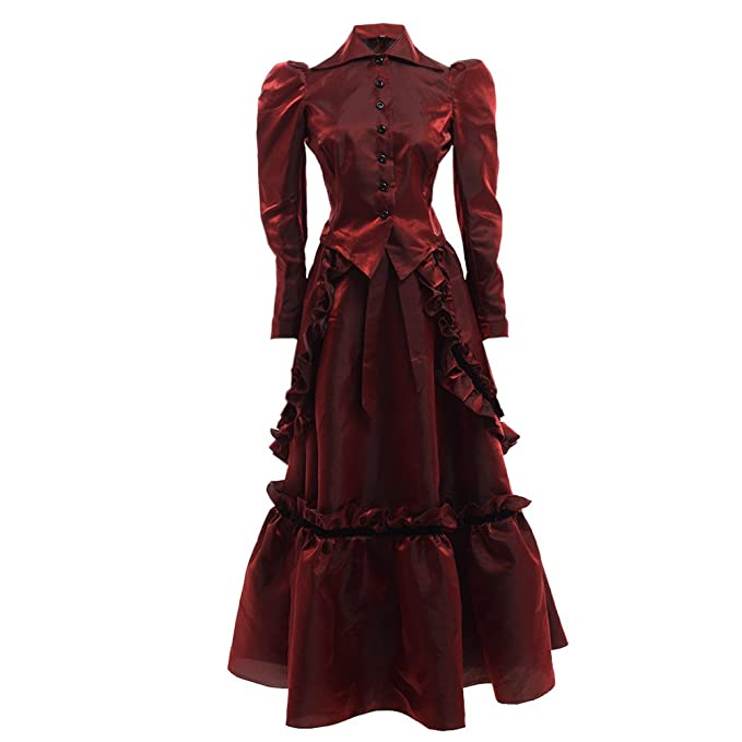 Victorian Costumes: Dresses, Saloon Girls, Southern Belle, Witch Victorian Edwardian Dress Costume with Bustle Jacket and Skirt Suits $63.99 AT vintagedancer.com