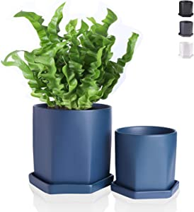 Wencassy Ceramic Pots for Plants - 4.5 + 6 Inch Geometric Flower Pot Garden Planters with Drainage Hole and Saucer, Indoor, Matte Navy, Set of 2 (Plants Not Included)