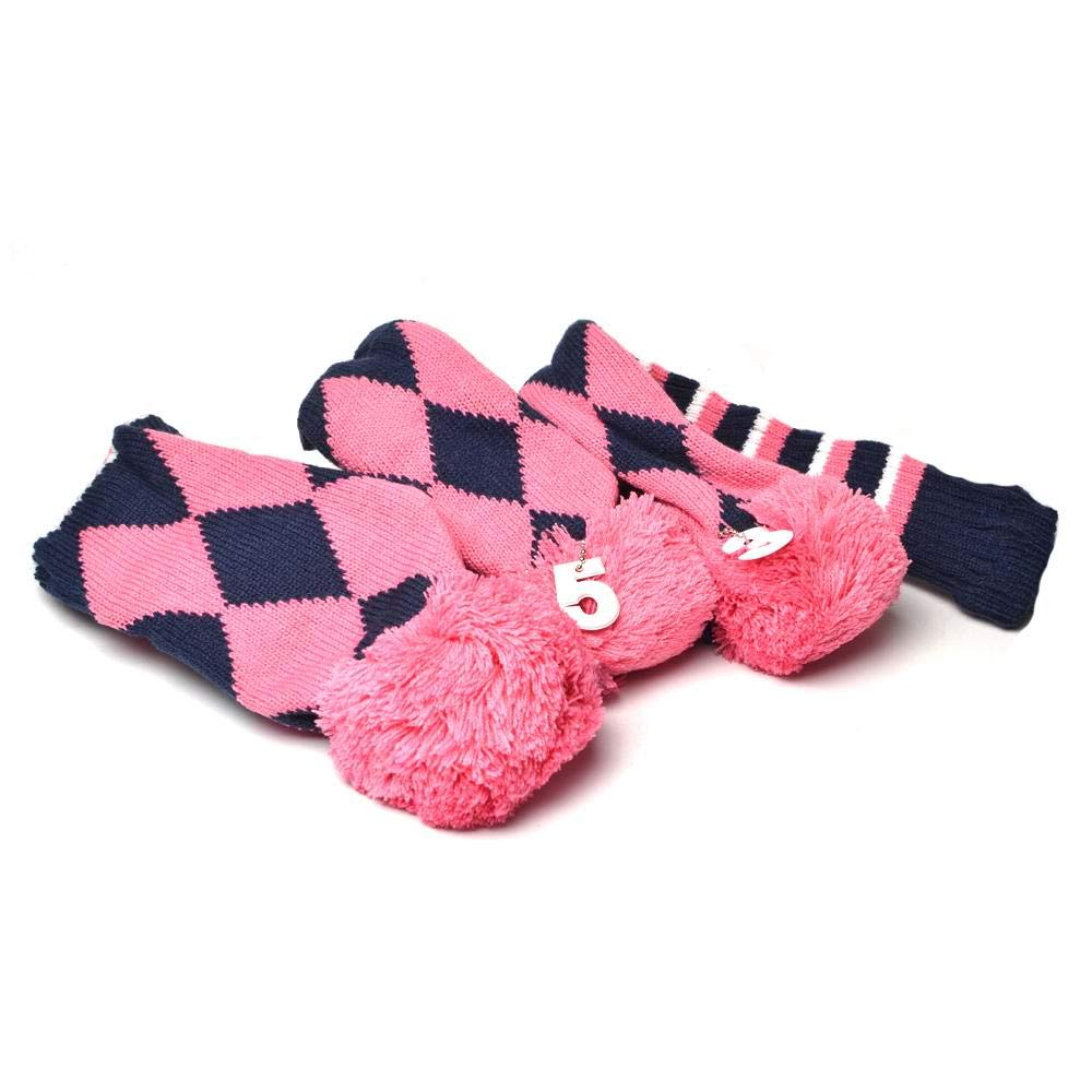 GOOACTION Drivers, Fairway Woods, Hybrids 3pcs Pink and Navy Blue Checkered Pattern Pom Pom Sock Set Vintange Knit Universal Golf Head Covers Fit for All Golf Brands by GOOACTION