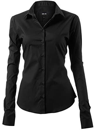 c48ecd80 Harrms Womens Dress Shirts and Blouses for Work Black Button Down Shirts  Size 6
