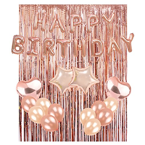 UTOPP Rose Gold Birthday Party Decorations Kit, Happy Birthday Balloons Banner,4 Heart & Star Foil Balloons, 20 Latex Balloons, Rose Gold Metallic Foil Fringe Curtains Photo Backdrop Party Supplies