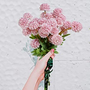 PONKING Artificial Hydrangea Flowers 4 Pack, Fake Flowers for Wedding Party Home Decor Pink