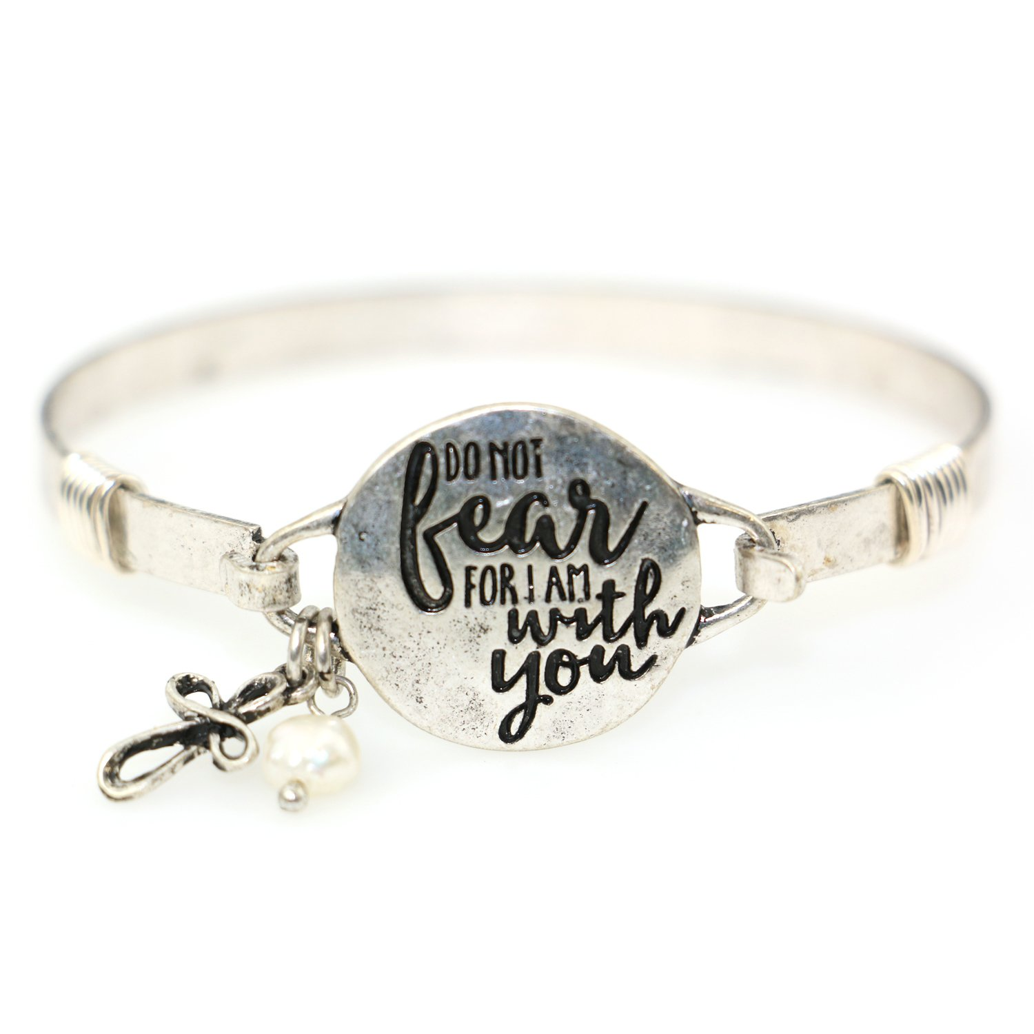 Wonderent Do Not Fear For I am With You Beautiful Christian Bangle Bracelet with Wire Design and Cross Charm and Bead (Silver Burnish)