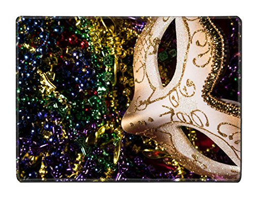 Luxlady Natural Rubber Placemat IMAGE ID: 26111871 Colorful Mardi Gras Mask with beaded background (Carnavale Costumes)