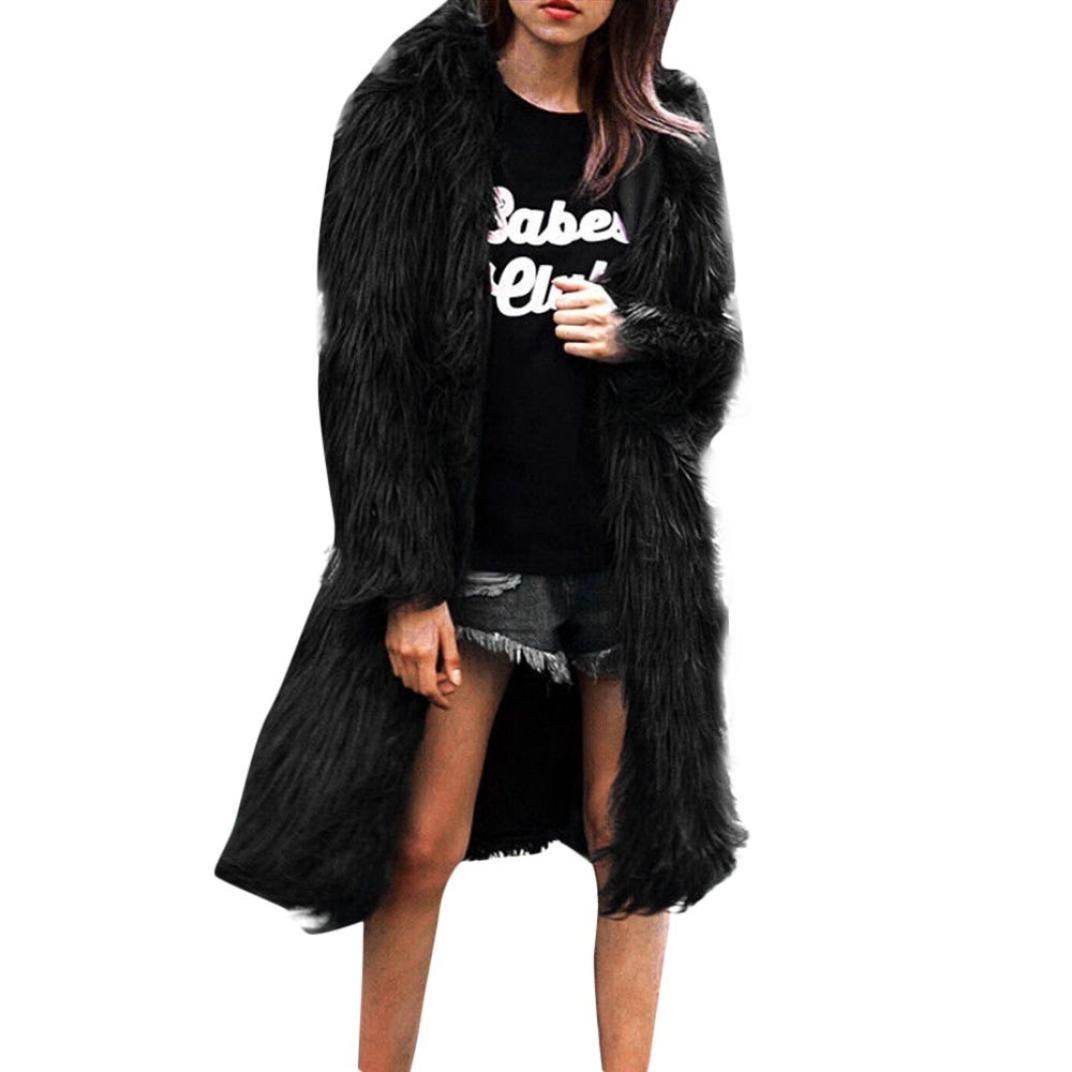 New Faux Fur Coat, Womens Faux Fur Soft Warm Hooded Coat Outerwear Overcoat Long Jacket Parka (Black, S)