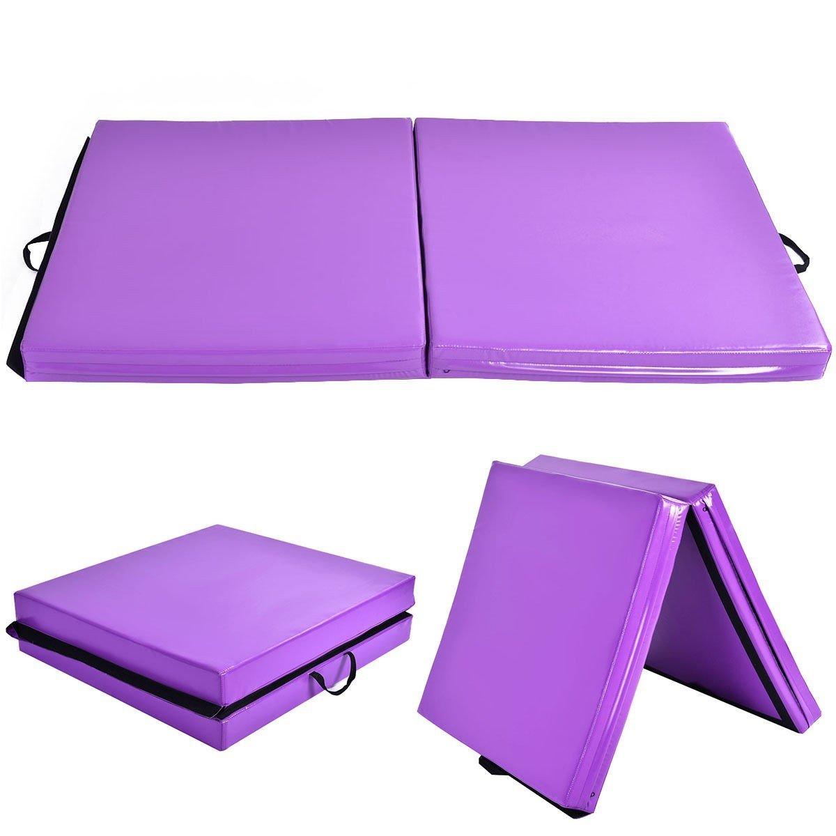 6' x 38'' x 4'' Purple Gymnastics Mat Two Folding Panel by Apontus