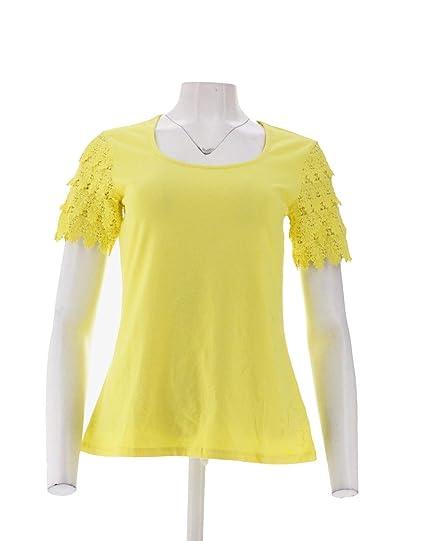 6eb55e6d Liz Claiborne Scoop Neck Lace SLV T-Shirt A223988 at Amazon Women's  Clothing store:
