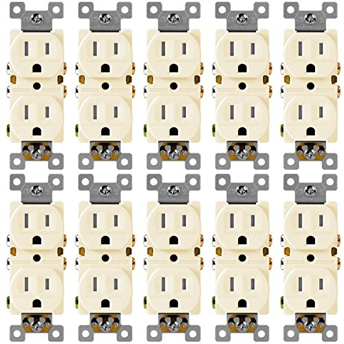 Duplex Receptacle Outlet Enerlites 61580-TR-LA Residential and Commercial Electrical Socket, Tamper Resistant, Self-Grounding, Heavy-Duty, 2-Pole, 15A/125VAC, UL Listed | Light Almond - 10 (120v Almond)