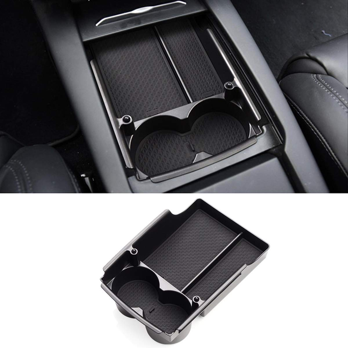 Console Armrest Storage Box and Cup Holders Compatible with Tesla Model S//X 2016 2017 2018 Model X TTCR-II for Tesla Model S//X Centre Organizer Tray