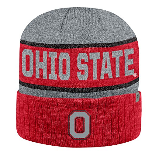 Ohio State Buckeyes Top of the World Below Zero II Cuffed Knit Ohio State Buckeyes Striped Acrylic
