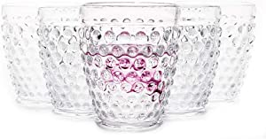 Hobnail Old Fashioned Iced Beverage Glass 10.25 oz. set of 6, Premiun Vintage Glass Set for Refreshments, Soda & Juice, Perfect for Dinner Parties, Bars & Restaurants