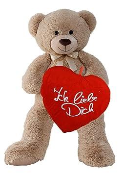 XXL Teddybär 100 cm Herz Kissen Ich Liebe Dich Weiss