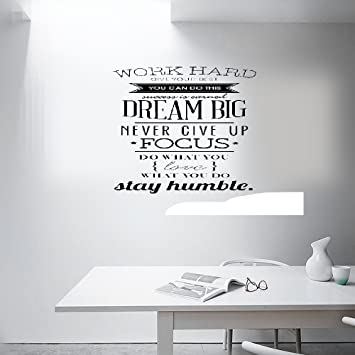 Earck Wall Sticker Quotes Motivation Wall Decals Office Room Decor Never  Give Up Work Hard,