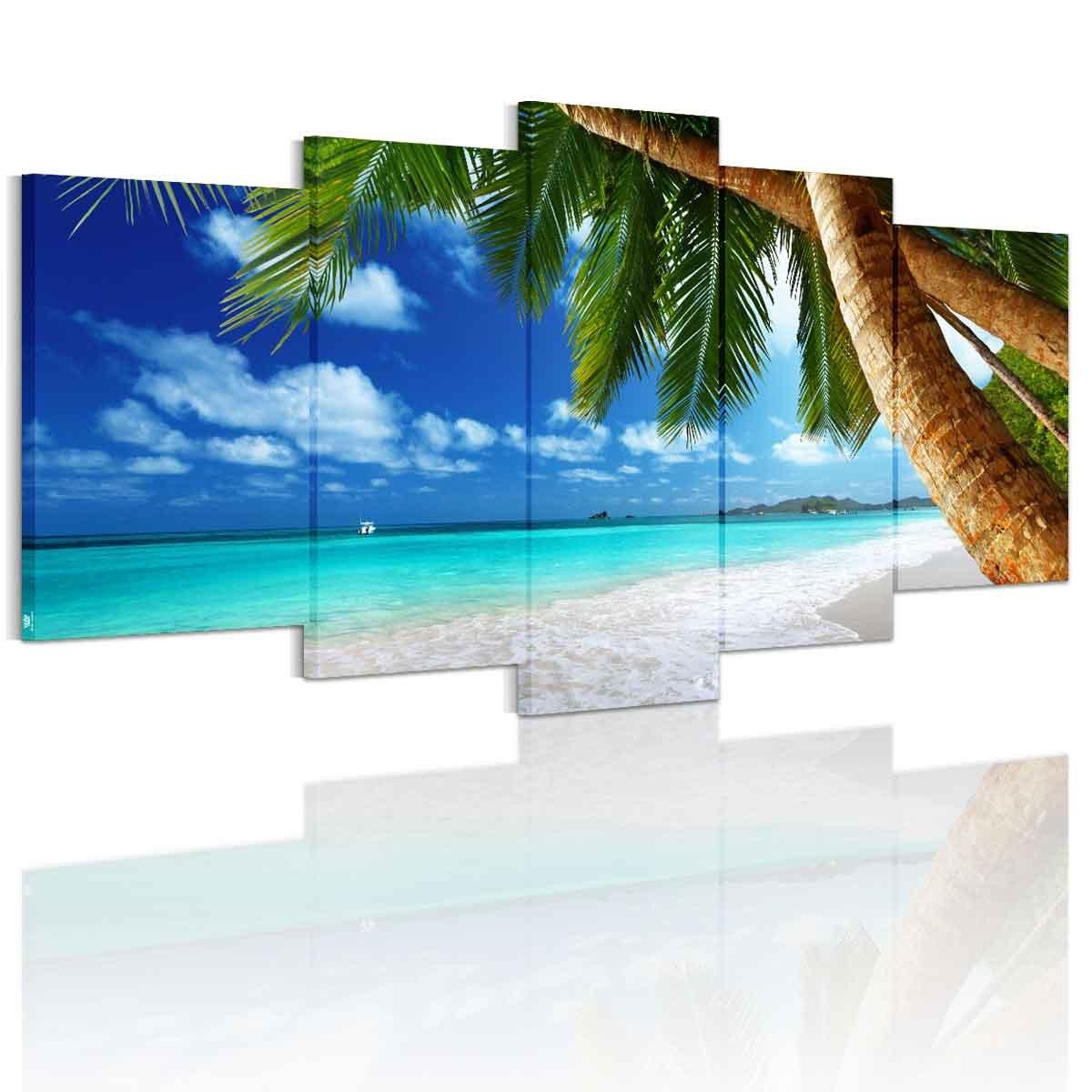 南国の楽園 アートパネル 完成品 モダン 現代 海の景色 海岸 特大 青い海 ヤシの木 アートフレーム 海 絵画 海 壁飾り キャンバス絵画 5枚パネル B06WD5Z9G7