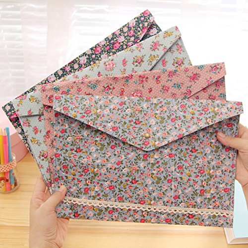 SumDirect 4Pcs Floral Pattern A4 Size Cotton Folder, Paper Document File Carrying Case with Snap Button (Floral Covered Box)