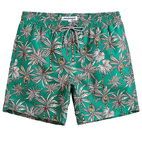 (MaaMgic Mens Quick Dry Printed Short Swim Trunks with Mesh Lining Swimwear Bathing Suits Green Flower )