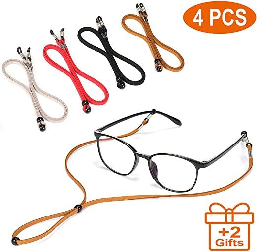 Eyeglasses Glasses Strap Holder 6PCS Sports Eyewear Head Band Retainer with Push Button Buckle