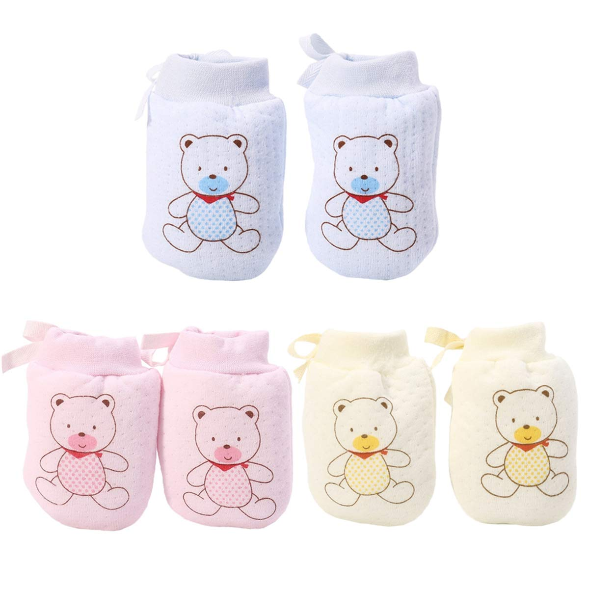 LOVARTS BEAUTY 3 Pair Baby Anti Scratch Gloves with Adjustable Drawstring Autumn Winter Newborn Boys Girls Warm Cotton Mittens for 0-6 Months