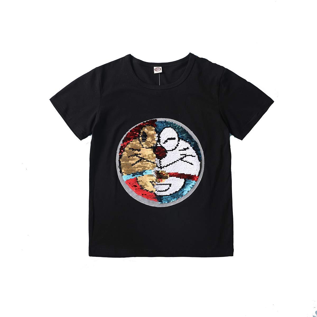 Lee little Angel Maglietta Felpa con Paillettes magiche per Bambini e Ragazzi Maglietta Top Pullover di Cotone per Bambini (3-13 Anni)