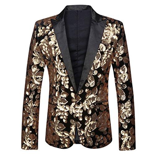 (PYJTRL Men Fashion Velvet Sequins Floral Pattern Suit Jacket Blazer (Black Closure Collar, M/40R))