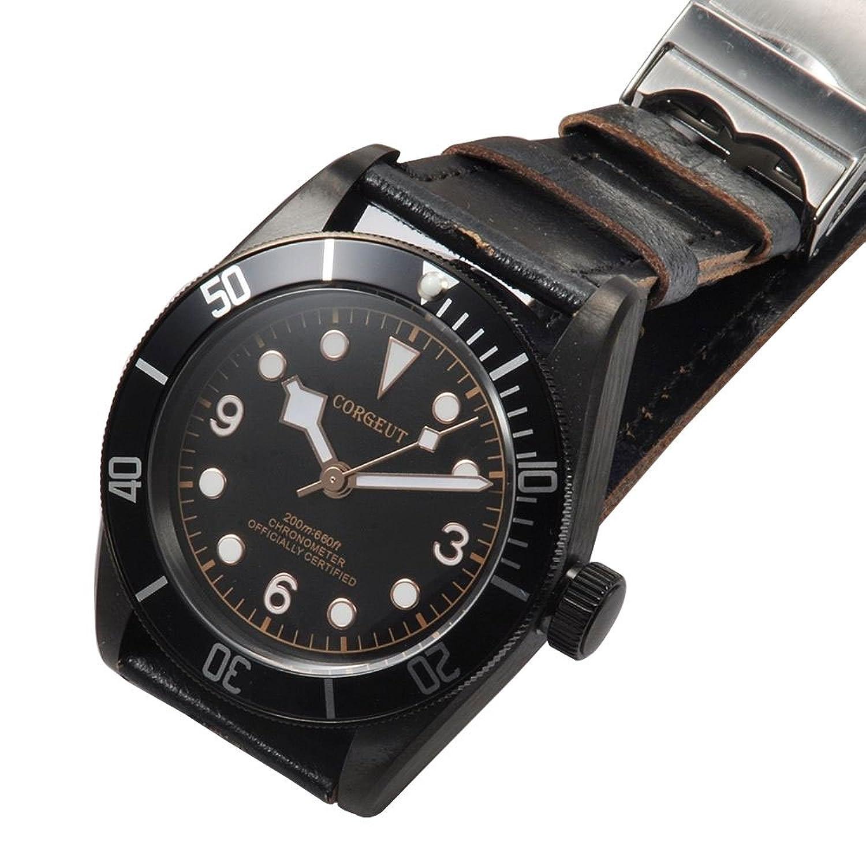 41 MM corgeut mechanischen selbst Wicklung Herren-Armbanduhr Schwarz PVD Fall