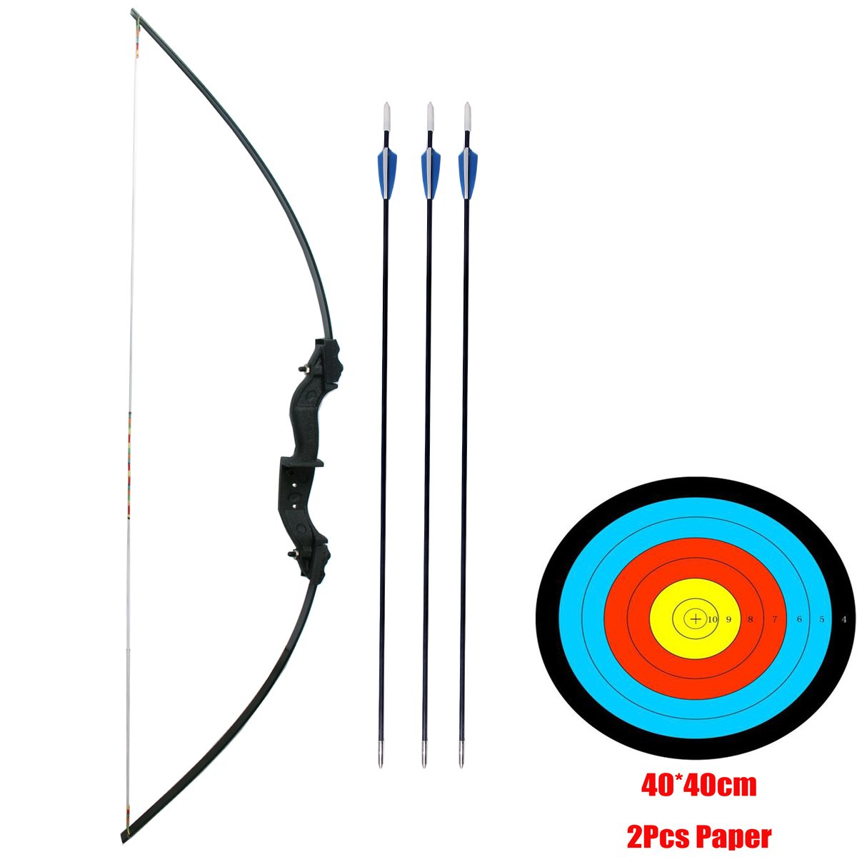 """PG1ARCHERY Takedown Bow and Arrow Set, 51"""" Hunting Targeting Practice Archery Set for Kids Youth Junior Beginner Starter with Fiberglass Arrows & Target Paper"""