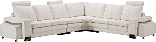 American Eagle Furniture Haverhill Modern Faux Leather Living Room Sectional Set, 6 Piece, off_white