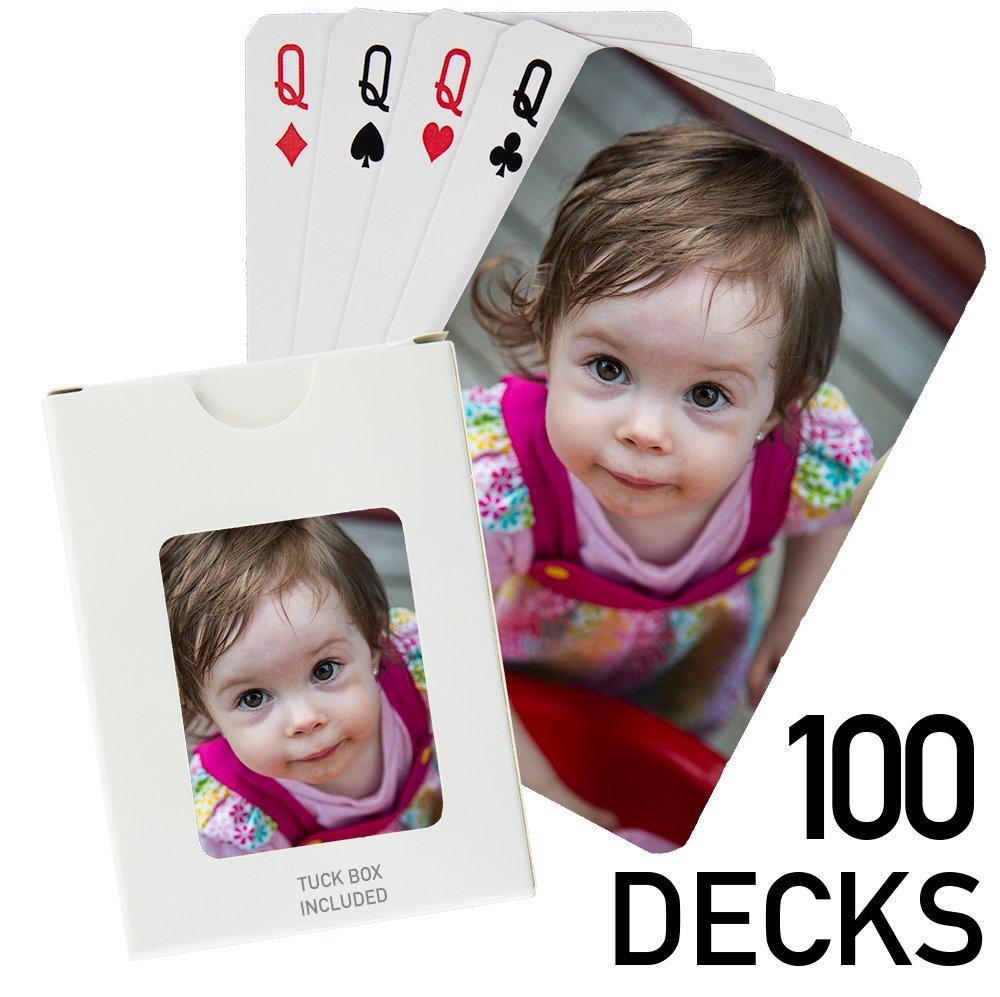 100 Decks - Custom Printed Playing Cards (100 Poker Size Decks) by PlayingCardsNow.com